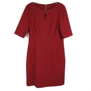 Tahari ASL Red Sheath Dress Short Sleeve Size 12